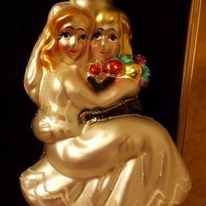 Vintage Newlyweds Bride Groom Christmas Ornament